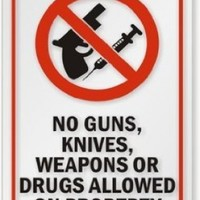 """No Guns, Knives, Weapons or Drugs Allowed on Property (with Graphic) Decal, 5"""" x 8"""""""