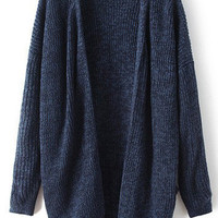 Navy Long Sleeve Knit Cardigan