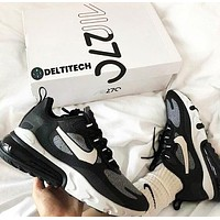 NIKE AIR MAX 270 REACT Popular Men Women Casual Sport Running Sneakers Shoes Black&Grey