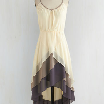 Mid-length Spaghetti Straps High-Low Hem Cheers for Tiers Dress by ModCloth