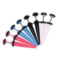 Fake Tapers Illusion Cheater Earrings Acrylic Kit 8G Gauges Piercing Jewelry Set 8 Pieces