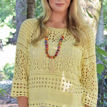 High Expectations Open Knit Top - Pale Yellow