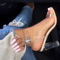 SexeMara Women Pumps Ankle Strap Platform Perspex High Heels PVC Clear Crystal Classic Buckle Strap Sandals Fashion Shoes Woman