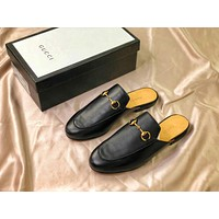 Gucci Princetown Embroidered Black Leather Slipper Sandals - Sale