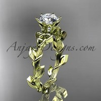 """14kt yellow gold diamond celtic trinity knot wedding ring, engagement ring with a """"Forever One"""" Moissanite center stone CT7248"""