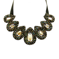 NECKLACE / FACETED HOMAICA STONE / BIB / MICRO BEAD / TIED CLOSING / 14 INCH LONG / 2 1/2 INCH DROP / NICKEL AND LEAD COMPLIANT