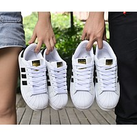 """""""Adidas"""" Fashion Shell-toe Flats Sneakers Sport Shoes White Black Golden For women F"""