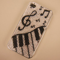 Black and White Music Fun Case for iPhone 4/4S by handmadebags2012