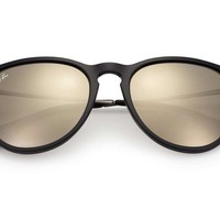 Ray Ban Erika Classic Sunglasses Black Gunmetal Frame, Gold Mirror Lenses 54mm