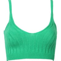 Green Knitted Crop Vest
