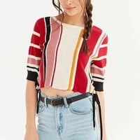 Glamorous Blanket Stitch Side Lace-Up Tee