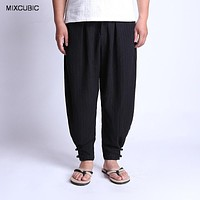 MIXCUBIC 2017 summer cool unique Frilly linen pants men casual loose linen harem pants for men linen feet trousers,size M-4XL