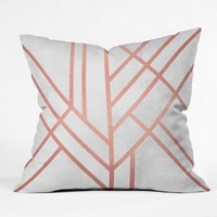 Elisabeth Fredriksson Art Deco Rose Gold Outdoor Throw Pillow