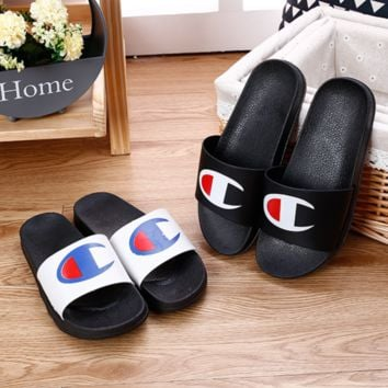 Champion Fashion new big logo print non-slip wear-resistant comfortable couple shoes slippers two color