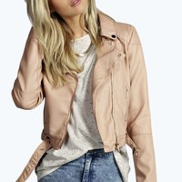 Ruby Cropped Faux Leather Biker Jacket