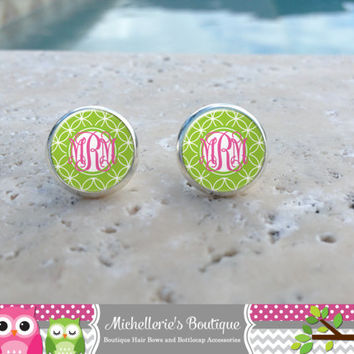 Lime and Hot Pink Monogram Earrings, Monogram Jewelry, Monogram Accessories, Monogram Studs, Monogram Leverbacks, Monogrammed Gifts under 10