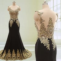 New Arrival Prom Dresses Unique Design Peacock See Through Top with Lace Appliques Long Chiffon Mermaid Crystal Gold Lace Evening Dress 2015