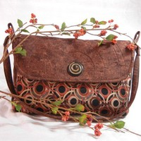 Quilted Brown Circle Design Shoulder Purse