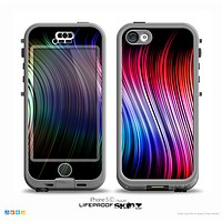 The Neon Rainbow Wavy Strips Skin for the iPhone 5c nüüd LifeProof Case