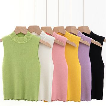 The new style is a hit with short tank tops with high collars