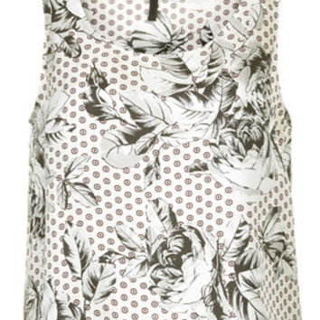 Geo-Rose Print Silk Sleeveless Top by Boutique - Ivory