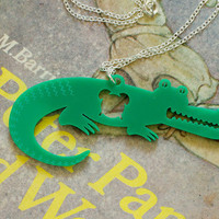 Tick Tock Green Crocodile necklace from Peter Pan