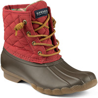 Women's Saltwater Quilted Duck Boot in Nylon Red by Sperry