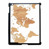World Map On Wood Texture Print White iPad 4 Case