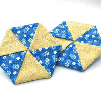 Fabric Coasters, Drink Coasters, Beverage Coasters, Blue and Yellow Kitchen Decor, Hexagon Coasters, Set of 2