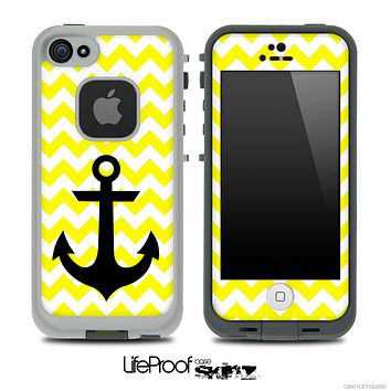 Trendy Yellow/White Chevron with Black Anchor Skin for the iPhone 5 or 4/4s LifeProof Case