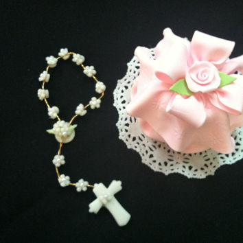 Rosary Favor, First Communion Girl, White Rosary, First Communion, Baptismal Favor, Baptism Favor, Baptism Keepsake, Baby Girl Baptism Favor