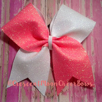 Coral and White Glitter Cheer Bow