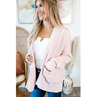 Couch Potato Knit Cardigan (Blush) FINAL SALE