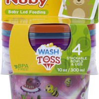 nuby print wash or toss 10 oz. bowls with lids (4 pack) Case of 72