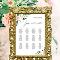 Seating chart template editable, Printable wedding seating chart poster, 12, 16, 20 tables, Floral modern calligraphy seating chart download