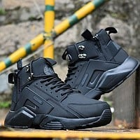 Nike Air Huarache X Acronym City Customise MID Leather Sport Shoes All Black