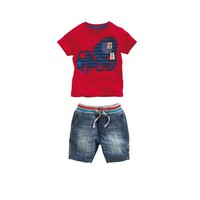 Retail Summer Casual Baby Boy Car Printed Short Sleeve Red T-Shirt+Blue Jeans Short Pants 2Pcs Suit Children Denim Outfits Kids Clothing Set