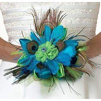 Peacock Feather Bridal Bouquet