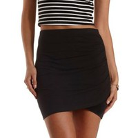 Black Ruched Bodycon Mini Skirt by Charlotte Russe