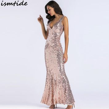 Gatsby Dresses Beading Sleeveless Maxi Rose Gold Sequined Mermaid Dress Women New 1920s Beads Sequined Mermaid Long Dress