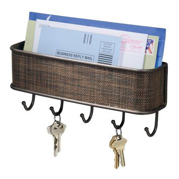 Wall Mount Mail Holder with Key Hooks