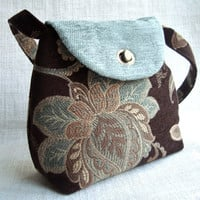 Handmade Tapestry Fabric Brown and Emerald Handbag with Floral Pattern