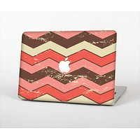 """The Scratched Coral & Brown Layered Chevron V4 Skin Set for the Apple MacBook Pro 13"""""""