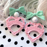 Baby Pink and Mint Sweetheart Earrings