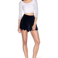 Burned Velvet White 3/4 Sleeve Crop - LIMITED