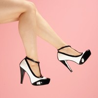 T-Strap Spectator Pump in Black and White   Pinup Girl Clothing