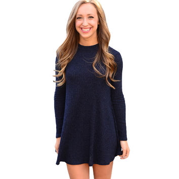 Long Sleeve Knitted Sweater Dress