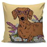 Illustrated Dachshund Pillow Cover