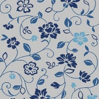 Frieze Collection Flower Print Area Rug