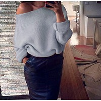 Women's Fashion Winter Sexy Strapless Long Sleeve Tops Sweater [493586317366]